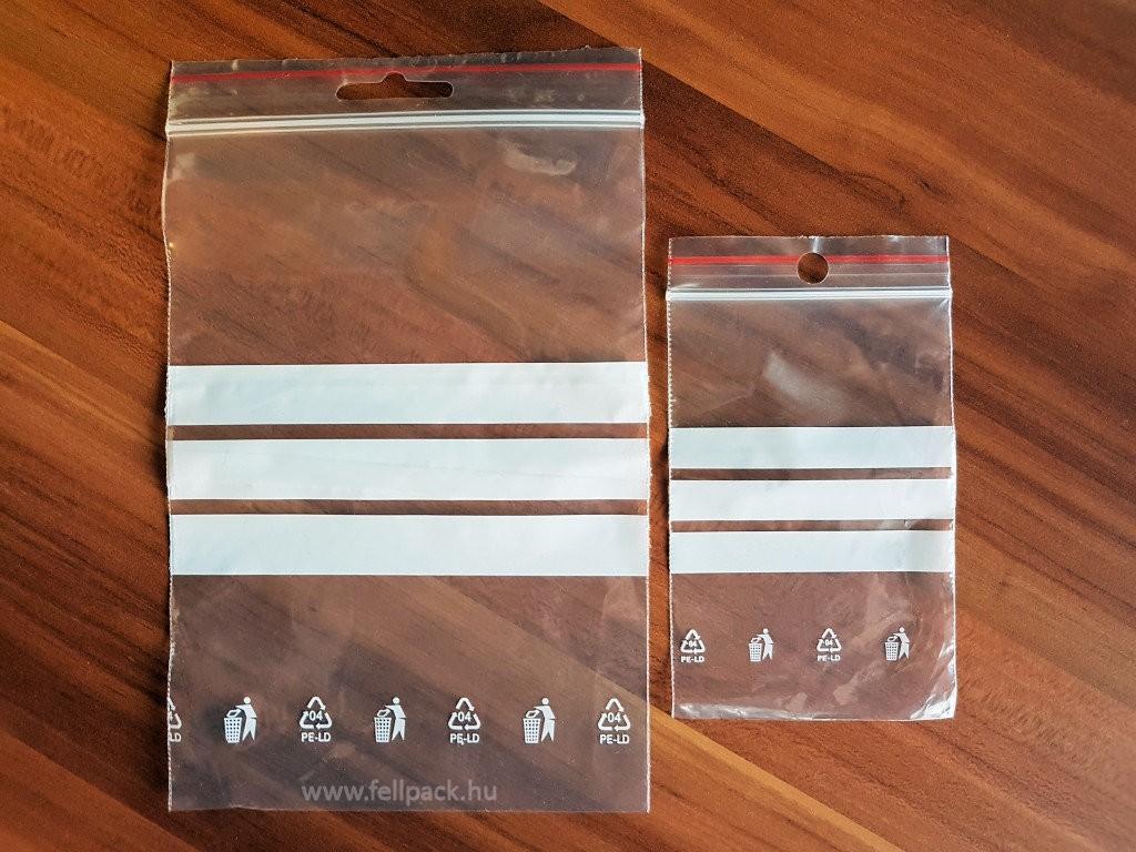 82a3ec4c4c09 40 x 60 x 0,04 mm-es (4 x 6 cm-es) írható felületű simítózáras tasak(önzáró,  sínzáras, akasztólyukkal)